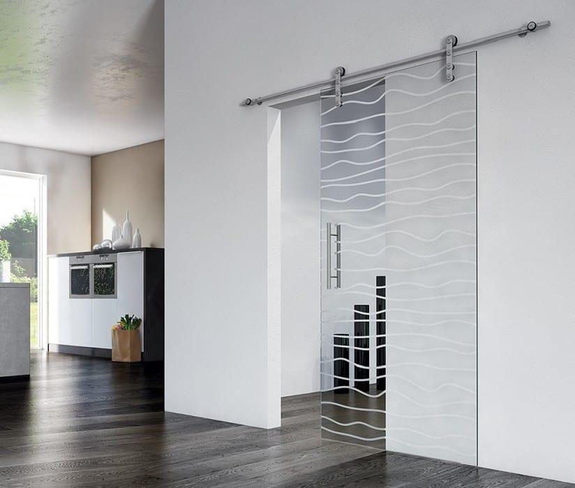 Glazen deur met print