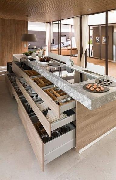 Keukentrends brede keukenlades met dubbele laden