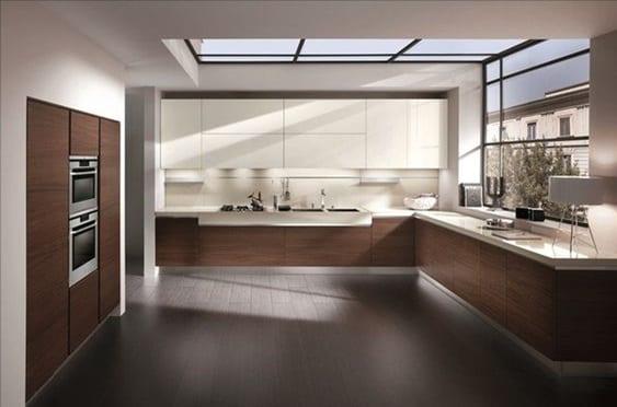 Keukentrends zwevende keukenkast bruin