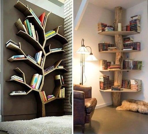Muurdecoratie boekenkast hout