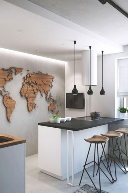 Muurdecoratie wereldkaart hout