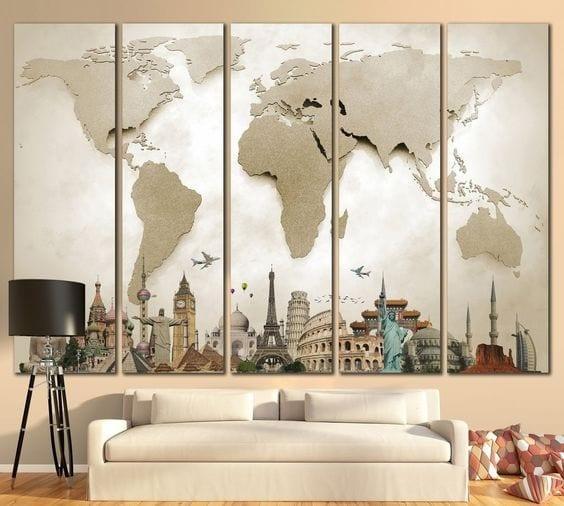Muurdecoratie wereldkaart in delen