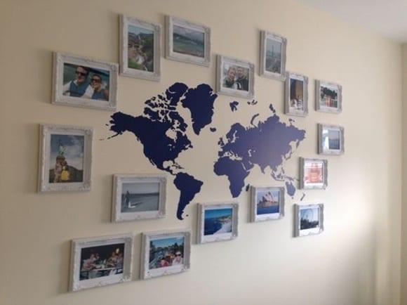 Muurdecoratie wereldkaart met foto's
