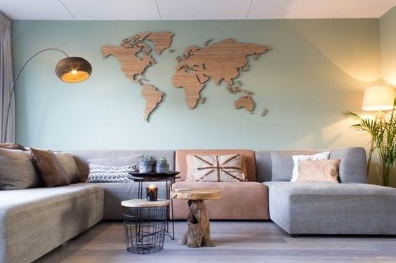 Muurdecoratie wereldkaart